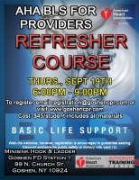 AHA BLS for Providers Refresher - September 19th